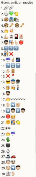 Whatsapp Puzzles: Guess amitabh movies from emoticons and smileys