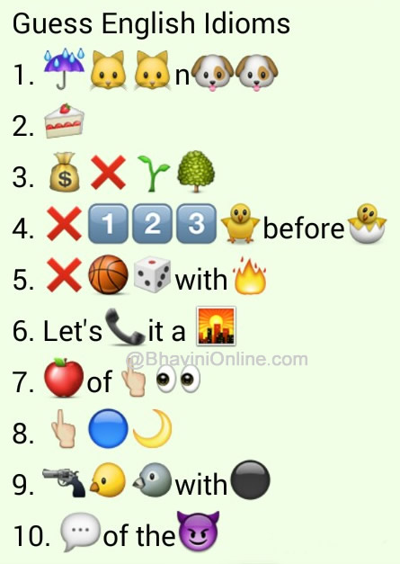 whatsapp puzzles  guess the english idioms and phrases