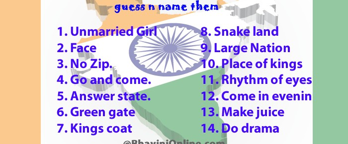 Guess the names of Indian States and Cities