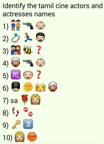 whatsapp puzzles guess tamil movie actor and actress names from