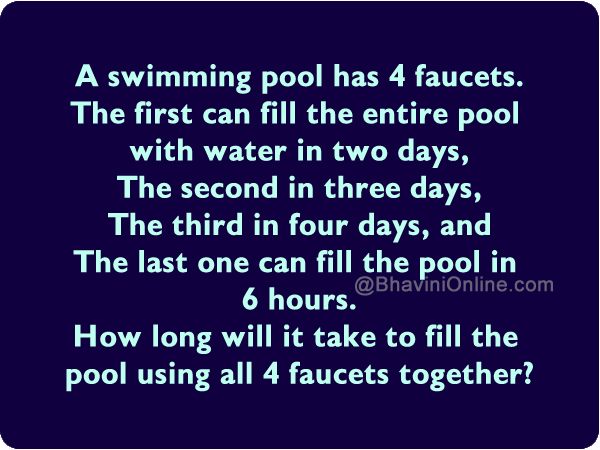 How Long Will It Take To Fill The Pool Using All 4 Faucets Together