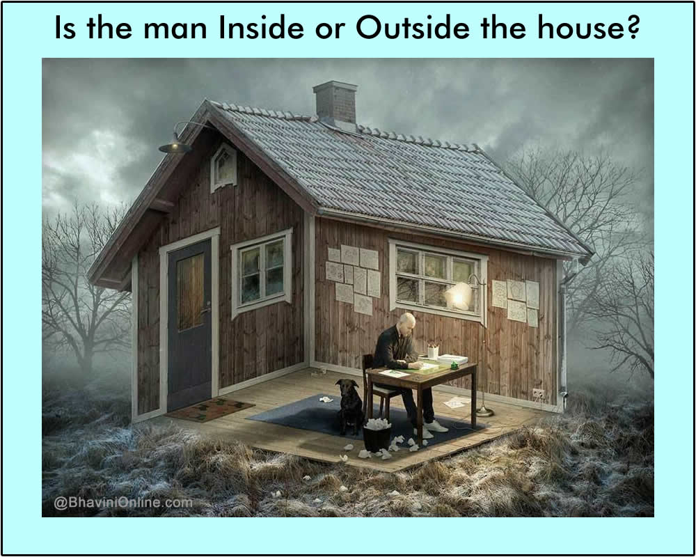 Optical illusion is the man inside or outside the house Outside house